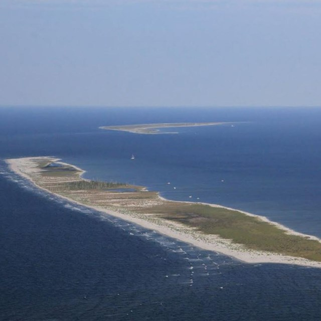 Aerial image of East Ship Island just beyond West Ship Island.