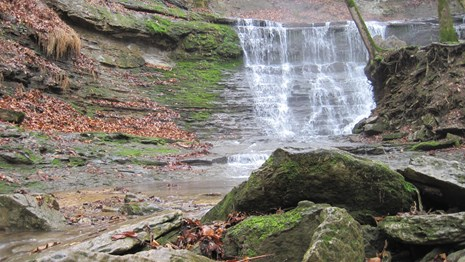 A waterfall along the Natchez Trace Parkway