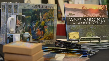 photo of a few Harpers Ferry and West Virginia specific products sold by the bookshop
