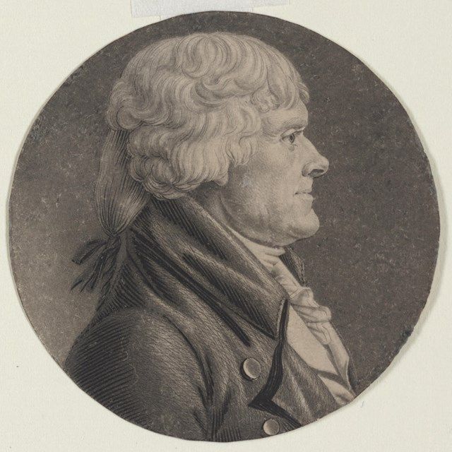 engraving of Thomas Jefferson, head and shoulders, facing right