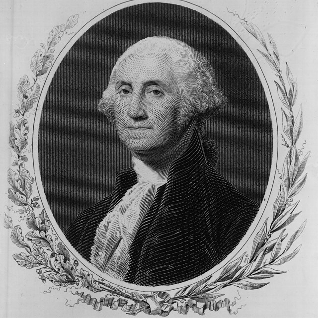 engraving of George Washington, head and shoulders, facing left