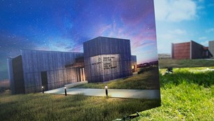 concept art of the new visitor center exterior.