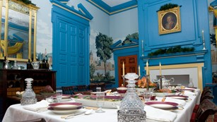 The dining room of the Hampton mansion.