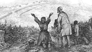Drawing of family realizing their freedom in an open field with outstretched arms.