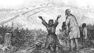 Black and white sketch of slaves rejoicing at reaching freedom