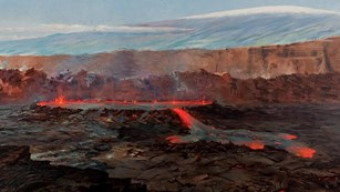 Painting of an erupting volcanic caldera with a snow-covered mountain beyond