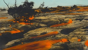 Hand-colored photo of lava moving through a forest landscape