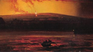 Painting of an erupting volcano with a boat on the ocean in the foreground