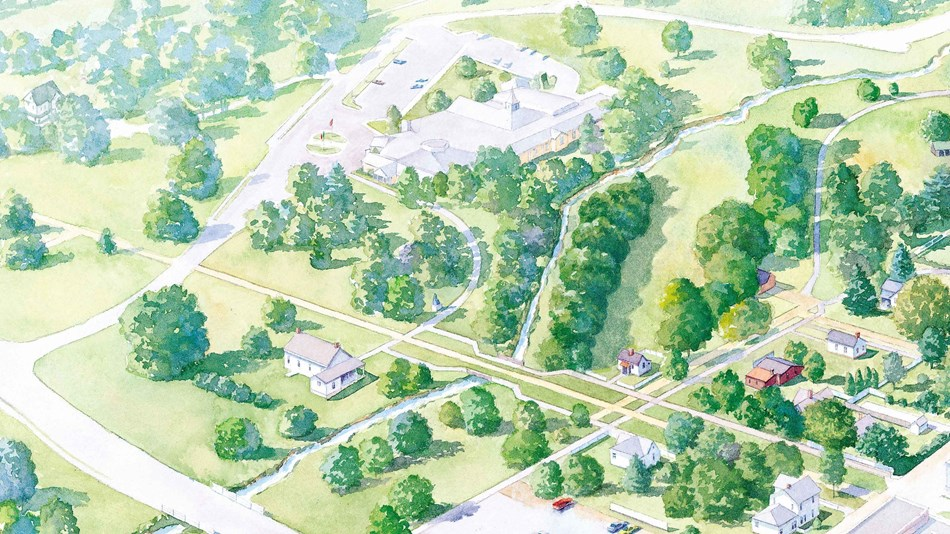 A artist's rendering of a historic site depicts a bird's eye view in perspective.