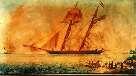 oil painting of a ship with people in small boats paddling to shore