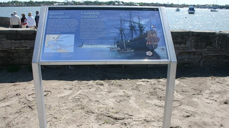 Base plated wayside installed at Castillo De San Marcos National Monument.