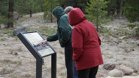 Hikers reading about Devastated Area