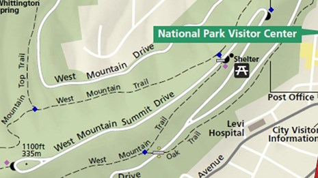 West Mountain trail sign map.
