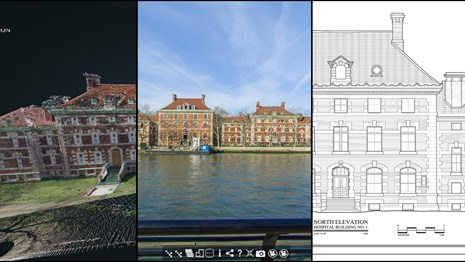 multimedia collage of heritage documentation. 3 different views of the same historic structure.