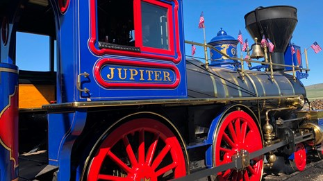 Brightly painted historic steam engine the Jupiter Locomotive located at Golden Spike National Histo