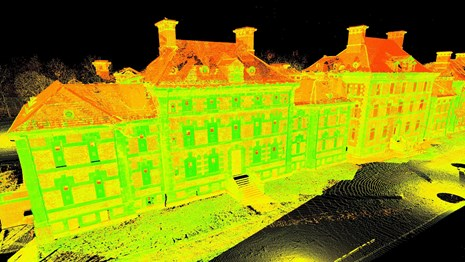 A laser scan of a building at Ellis Island.