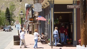 View of a downtown sidewalk in Georgetown, CO.