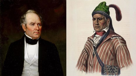 Portrait of Sam Houston on left, portrait of Menawa on right