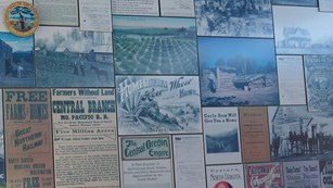 A collage of advertisement about moving west