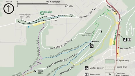 Map of West Mountain trails outlining length, trail heads, and routes.