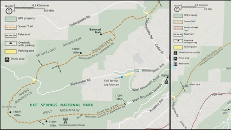 Map outlining the entire route of the Sunset Trail through West, Sugarloaf, and North Mountains.