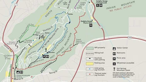 Overview map of trailheads, lengths, and routes of trails along Hot Springs Mountain.