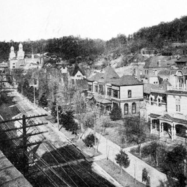 A black and white view at downtown Hot Springs in the early 1900s.