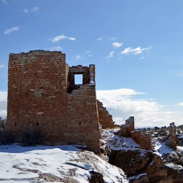 Hovenweep Castle covered in snow