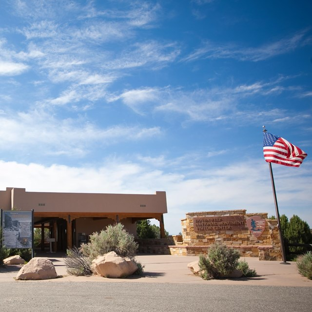 the Hovenweep Visitor Center with the American flag flying outside