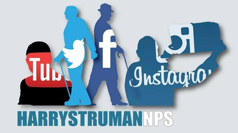 Silhouettes of Harry Truman labeled with social media icons