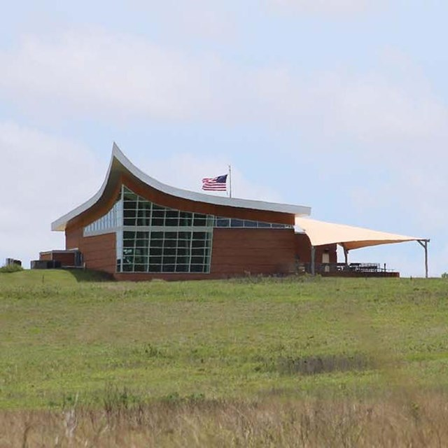 Photo of the visitor center at Homestead National Monument of America