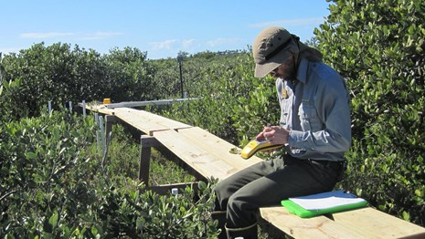 NPS scientist in the field with a GPS unit and a clipboard