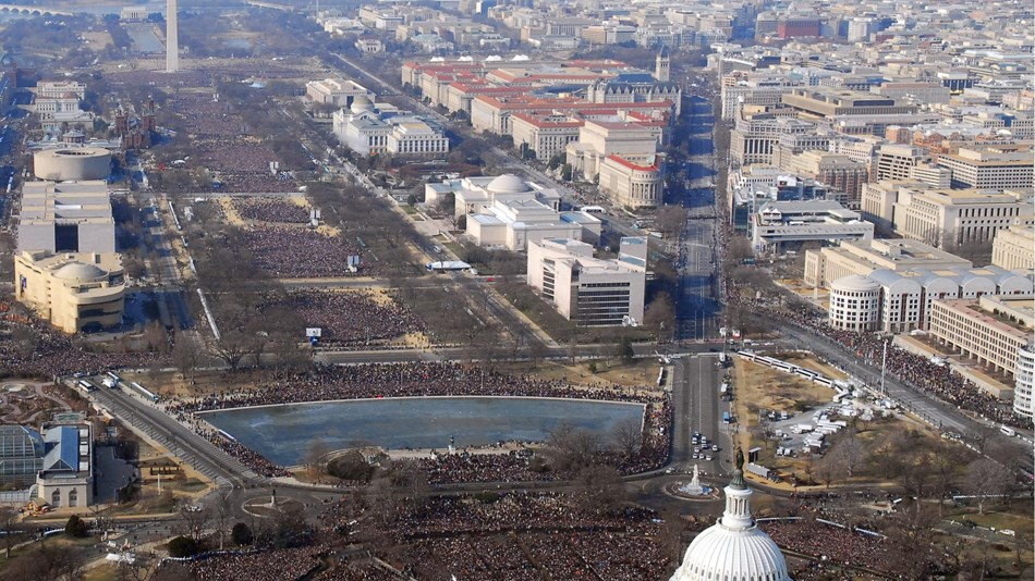 Birds eye view of the National Mall on Inauguration Day