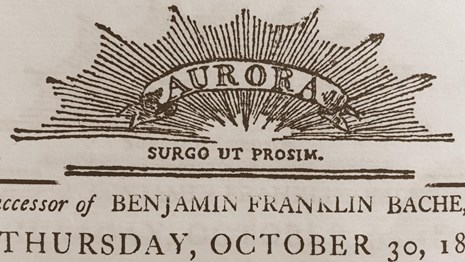 Image showing a detail from the masthead of the Aurora newspaper.
