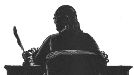 Black and white illustration of a silhouette of a man seated at a table with a quill pen.