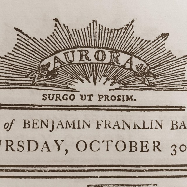 Image showing a detail of the masthead from the Aurora newspaper.