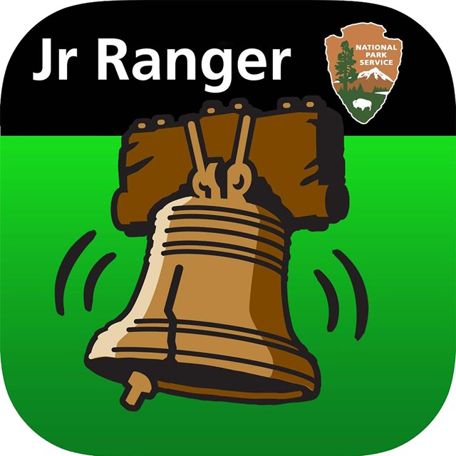 Color graphic of an illustrated Liberty Bell against a green background.