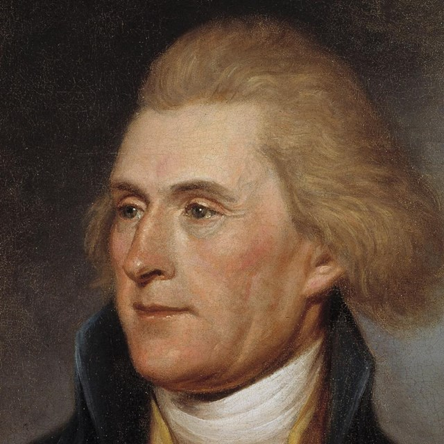 Color image of portrait of Thomas Jefferson, showing a detail of Jefferson's face.