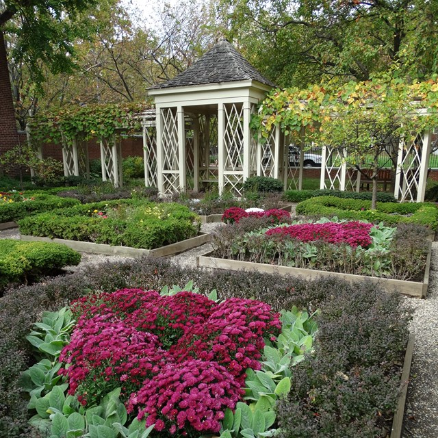 Color photo of flowers in bloom in geometric beds with a white gazebo in the background.