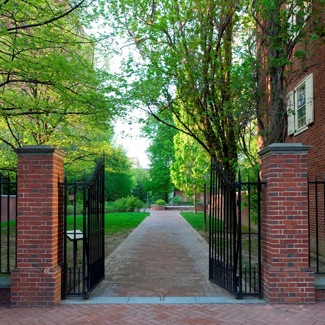 Color photo of ornamental gates opening on to a path into a garden.