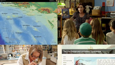 Tiled images of map, teacher with students, researcher with basket, digital archive