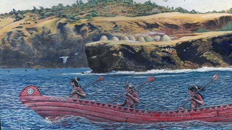 Painting of Chumash paddling a tomol near the islands.