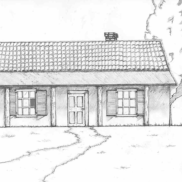 Drawing of Nidever adobe