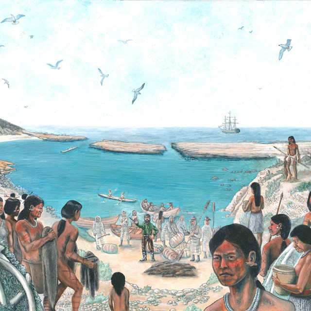 Native American Indians in village along coast.