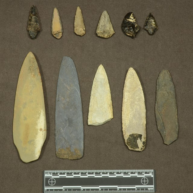 Stone projectile points for spears and arrows. Found on San Nicolas Island in cache from 1800s.