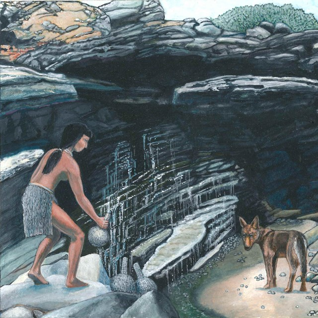 Painting of woman collecting water at spring with her dogs.