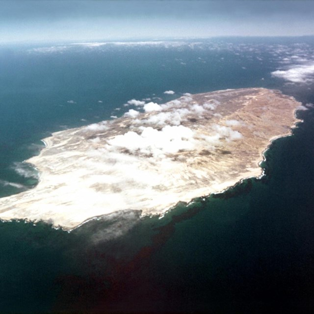 An aerial view of San Nicolas Island, Channel Islands, California. US Navy.