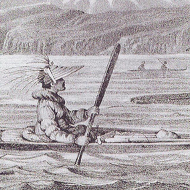 Unalashka Natives with Their Canoes, 1827. F.H. von Kittlitz in Litke's Atlas to Voyage.