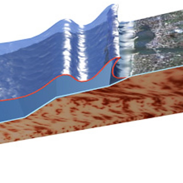 Drawing of tsunami wave crashing onshore.