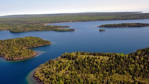 Aerial view of Washington and Barnum Islands, Isle Royale.